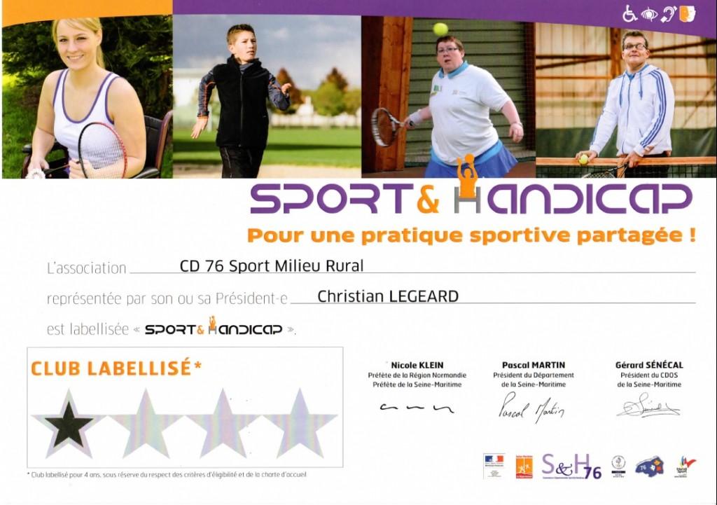 Label 2016 Sport et Handicap CDSMR76