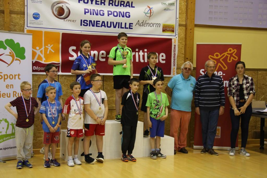 Les jeunes de la catégorie « débutants» récompensés par Monsieur Christian LEGEARD (Président du CDSMR76), par Monsieur Alain DURAND (Adjoint au Maire d'Isneauville) et Solène CHANTELOUP (vainqueur 2014-2015 dans la catégorie « confirmés »)